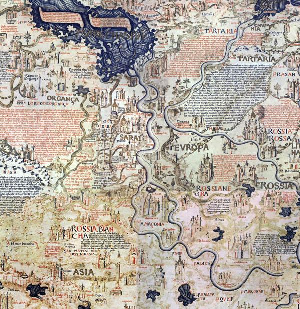 карта Фра Мауро - Волга и Каспий