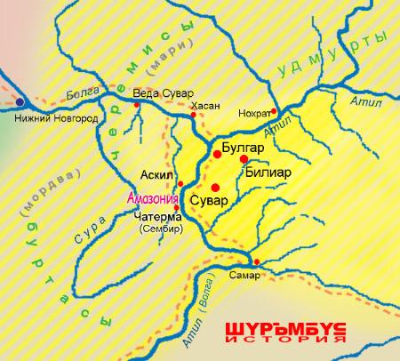 Амазония на карте Булгарии